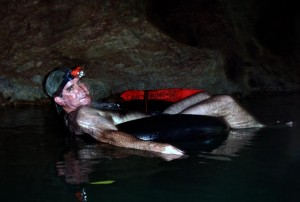 In the tube in the river in the cave