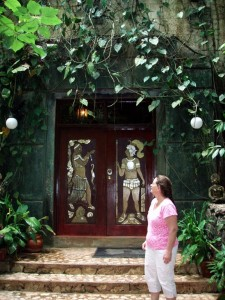 Lush overgrown door to the Orchid Garden Eco-Lodge looked like a Mayan Temple
