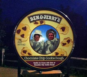 Our faces on a giant lid of Ben & Jerry's