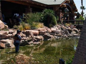 Steve White demos fly fish casting in front of the Las Vegas BassPro store
