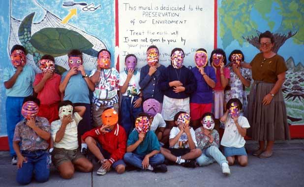 Suzanne & her masked kids in Puerto Vallarta